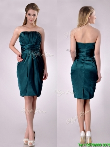 Exclusive Column Ruched Decorated Bodice Mother of the Bride Dress in Hunter Green