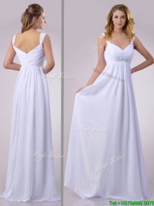 Hot Sale Empire Beaded White Chiffon Bridesmaid Dress with Straps