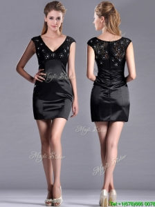 Classical V Neck Satin and Lace Mother of the Bride Dress with Cap Sleeves
