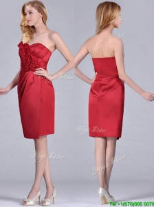 Low Price Red Column Satin Knee Length Mother of the Bride Dress with Ruffles