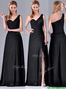 Gorgeous One Shoulder Black  Mother of the Bride Dress with Ruching and High Slit