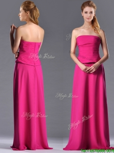 Latest Hot Pink Strapless Long Mother of the Bride Dress with Zipper Up