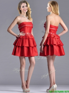 New Arrivals Red Strapless Mother of the Bride Dress with Ruffled Layers and Beading