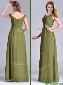 Discount Empire V Neck Chiffon Olive Green Mother of the Bride Dress with Ruching