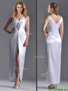 Exquisite Column V Neck Mother of the Bride Dress with Beading and High Slit