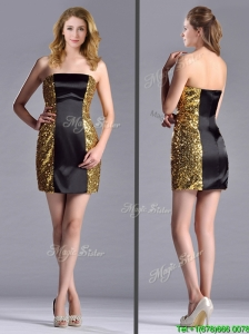 Popular Column Black and Gold Mother of the Bride Dress in Sequins and Satin