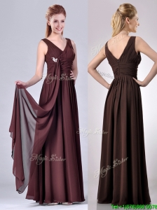 Simple Empire V Neck Chiffon Long  Mother of the Bride Dress in Brown