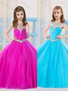 Beautiful Ball Gowns Scoop Fuchsia and Aqua Blue Mini Quinceanera Dress in Tulle