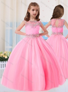 Beautiful Ball Gowns Scoop Short Sleeves Mini Quinceanera Dress in Baby Pink