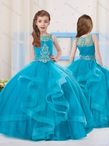 Pretty Ball Gowns Organza Beaded Side Zipper Mini Quinceanera Dress with Scoop