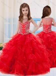 Red Ball Gowns Scoop Organza Beaded Bodice Mini Quinceanera Dress with Side Zipper