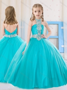 Sweet Ball Gown Halter Beading Aqua Blue Mini Quinceanera Dress in Tulle