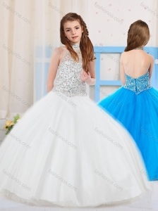 Top Selling Ball Gown Halter Tulle Beaded Mini Quinceanera Dress in White