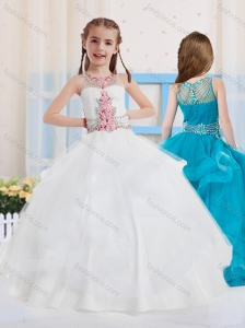 White Ball Gowns Scoop Organza Side Zipper Mini Quinceanera  Dress with Beading
