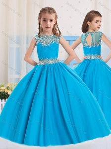 2016 Ball Gowns Scoop Baby Blue Beading Short Sleeves Little Girl Pageant Dress