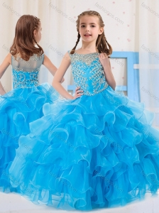 Ball Gowns Scoop Organza Side Zipper Beaded Bodice Little Girl Pageant Dress