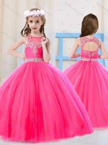 Beautiful Princess Pierced Hot Pink Little Girl Pageant Dress with Scoop