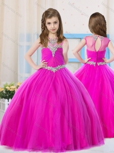 Elegant Ball Gowns Scoop Tulle Little Girl Pageant Dress with Beading