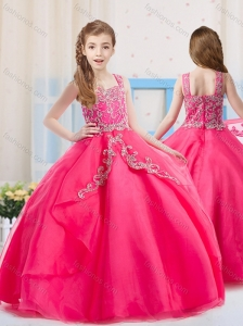 Elgant Hot Pink Straps Organza Little Girl Pageant Dress with Beading
