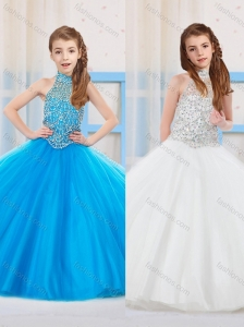 Fashionable Ball Gown Halter Floor-length Tulle Beaded Little Girl Pageant Dress