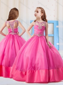 Fashionable Ball Gowns Scoop Little Girl Pageant Dress with Side Zipper