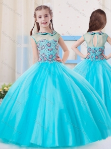 Pretty Ball Gown High Neck Tulle Little Girl Pageant Dress in Aqua Blue