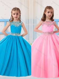 Pretty Ball Gowns Scoop Beading Baby Blue and Baby Pink Short Sleeves Little Girl Pageant Dress