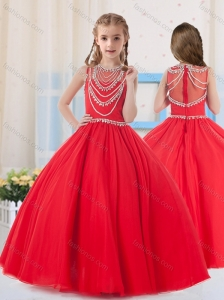 Pretty Ball Gowns Scoop Organza Red Little Girl Pageant Dress with Beading
