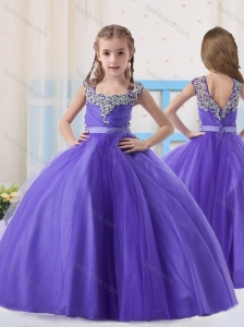 Purple Straps Tulle Purple Zipper Up Little Girl Pageant Dress with Beading