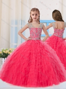 Sweet Ball Gowns Scoop Long Coral Red Little Girl Pageant Dress with Beading
