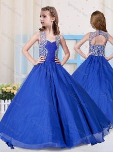 Beautiful Ball Gowns Straps Blue Little Girl Pageant Dress with Beading