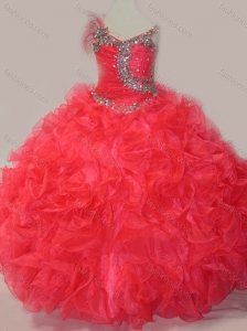 CoraL Red Ball Gown V Neck Organza Beading Little Girl Pageant Dress with Lace Up