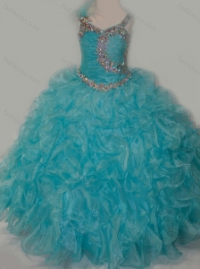 Elegant Ball Gown V Neck Organza Beading Aqua Blue Lace Up Little Girl Pageant Dress