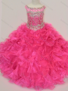 Exclusive Scoop Hot Pink Little Girl Pageant Dress with Beading and Ruffles