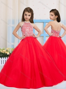 Fashionable Red Ball Gown Halter Beading Little Girl Pageant Dress in Tulle