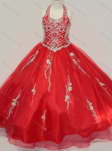 Lovely Organza Halter Top Beaded Little Girl Pageant Dress in Red