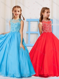 Most Popular Pincess Scoop Beaded Aqua Blue and Red Little Girl Pageant Dress