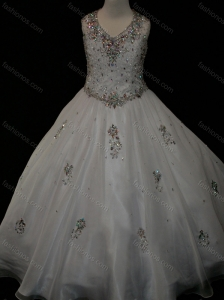 Pretty Ball Gown Beaded and Applique White Little Girl Pageant Dress in Organza