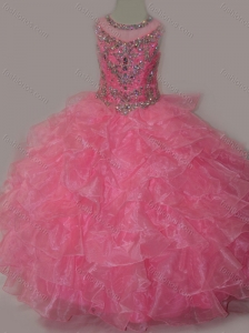 Rose Pink Ball Gown Scoop Beaded Bodice Lace Up Little Girl Pageant Dress