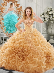 2016 Low Price Big Puffy Beaded and Ruffled Quinceanera Gown in Organza