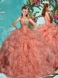 Beautiful Brush Train Beaded and Ruffled Quinceanera Gown in Organza