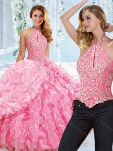 Cut Out Bust Beaded Bodice Detachable 15 Quinceanera Dress with Halter Top