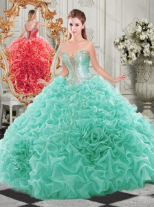 Discount Beaded and Ruffled Aqua Blue Sweet 16 Dress with Detachable Straps