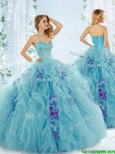 Discount Beaded Aque Blue Detachable Quinceanera Dresses in Organza