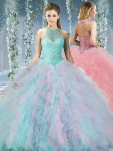 Discount Beaded Decorated Halter Top Rainbown Quinceanera Dress in Organza