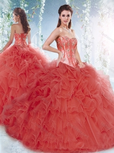 Discount Brush Train Detachable Quinceanera Dresses with Beading and Ruffles