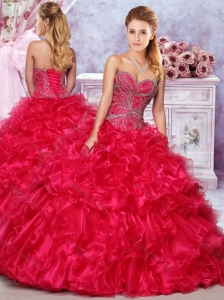 Elegant Beaded and Ruffled Red 15 Quinceanera Dress in Organza