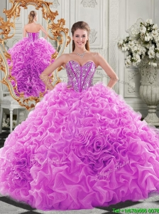 Lovely Puffy Skirt Beaded Bodice and Ruffled Quinceanera Dress in Fuchsia
