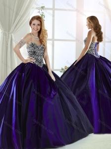 Low Price Brush Train Beaded Bodice Purple 15 Quinceanera Dress in Taffeta