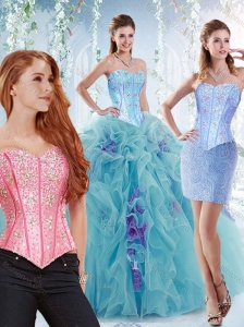 Modern Visible Boning Big Puffy Detachable Quinceanera Dresses in Aquamarine